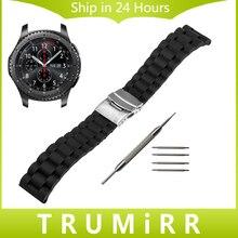 22mm Caucho de Silicona Watch Band Correa de Hebilla de Seguridad para Samusng S3 de Engranajes Classic Frontera Reemplazo Pulsera de La Correa Negro + herramienta