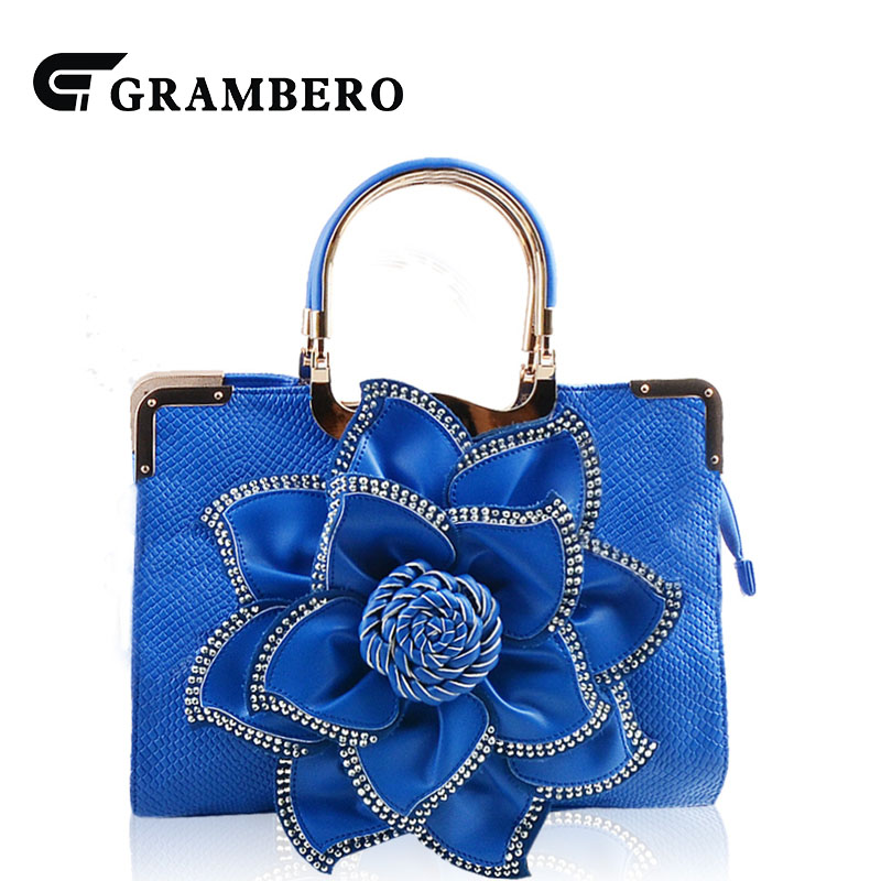 Noble Women Fashion Evening Bag PU Leather Big Relief Flower Zipper Top-handle Bag for Birthday Gifts Ladies Party Shoulder Bags fashion relief rose flower pattern handbag pu leather genuine leather zipper ring top handle bag lady party shoulder bags gifts
