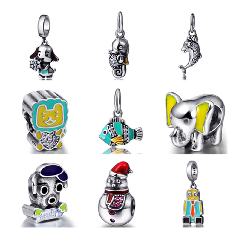 SG NEW Arrival Fish Robot elephant Dog Snowman Cute Charms Bead Fit Authentic pandora Bracelet Sterling-Silver-Jewelry Gifts