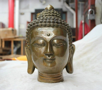 Copper Brass CHINESE crafts decoration China folk Culture Temple bronze statue Shakyamuni Tathagata Buddha statue
