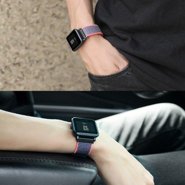 XShum 22mm 20mm Nylon Band For Xiaomi Amazfit Bip Pace Strap Wrist Nylon Loop Velcro Strap Smart Watch Accessories Bracelet 4