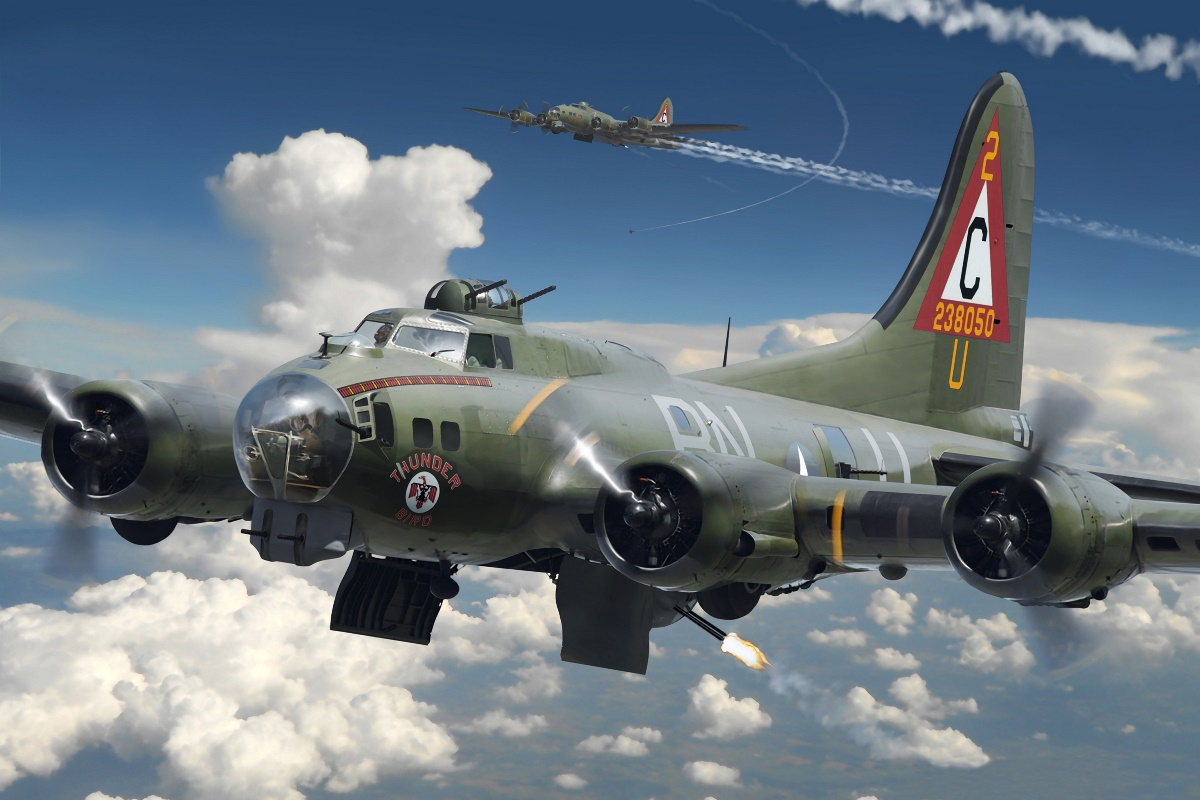 Aircraft airplane fighter military model boeing b 17 for Airplane cockpit wall mural