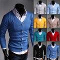 Мужчины осень свитер мужской тонкий сплошной цвет кардиган 8 цвета