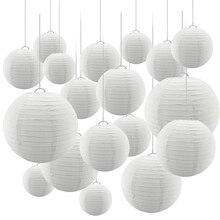24 шт./компл. белый Бумага фонари с разных размеров Круглый Китайский Бумага лампион Свадебная вечеринка висит в помещении или открытый декор