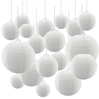 24 Pcs/set White Paper Lanterns with Assorted Sizes Round Chinese Paper lampion Wedding Party Hanging Indoor or Outdoor Decor