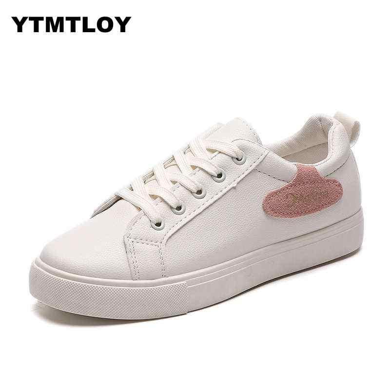 Năm 2019 Nữ Thời Trang Thoáng Khí Da PU Đế Trắng Mềm Footwears Sneakers Nữ Tenis Feminino Sapatos