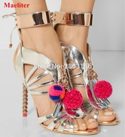Summer New Style Woman Pompon Hollow Out Sandals Gladiator Shoes Ankle Strap Tassel High Heels Sandalias