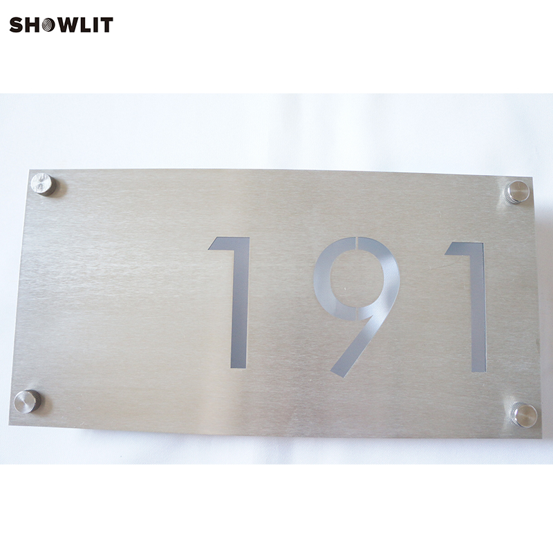 Waterproof Durable Outdoor House Number Sign Brushed Finish aluminum house number door sign plaque brushed finish