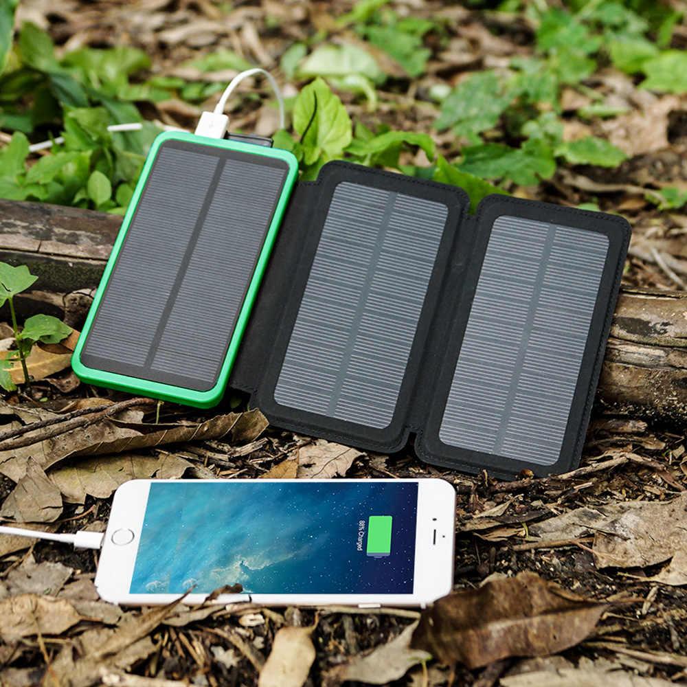 الهاتف شاحن 10000mAh شاحن بالطاقة الشمسية قوة البنك المزدوج USB لفون 6 6s 7 7 زائد 8 xs باد سامسونج HTC LG سوني ل xiaomi huawei