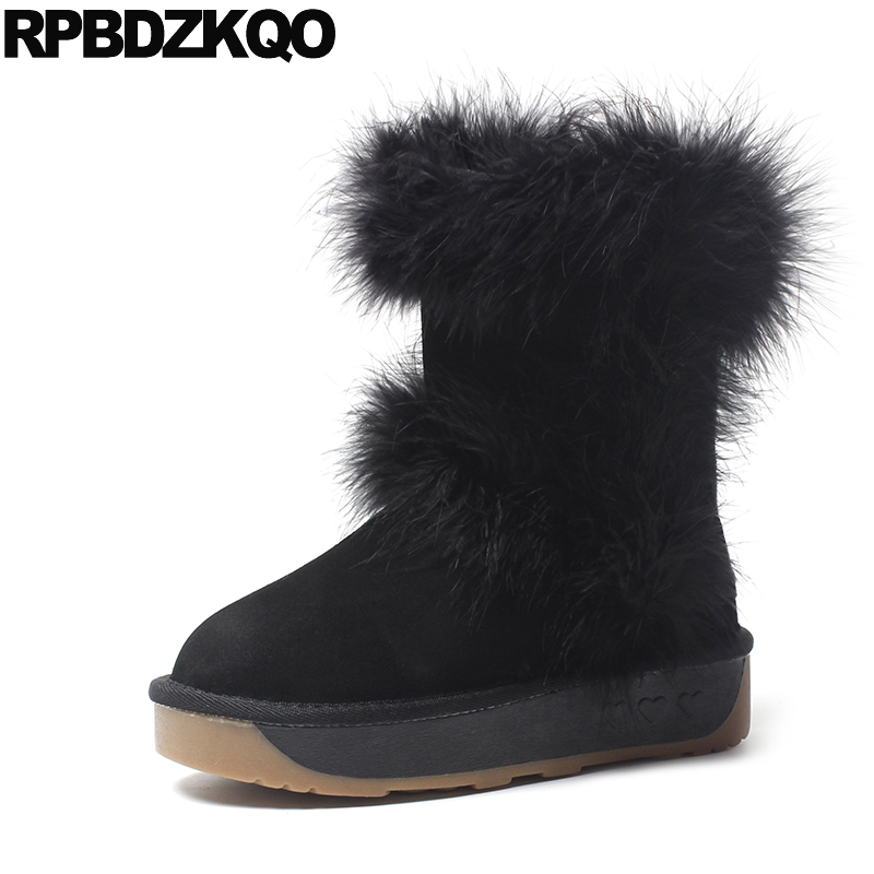 Mid Calf Shoes Muffin Slip On Casual Women Boots Winter 2017 Snow Furry Flat Fur Black New Chinese Female Ladies Fashion new hot sale shoes women snow boots flat shoes fashion matte slip on mid calf autumn winter boots female height increasing shoes