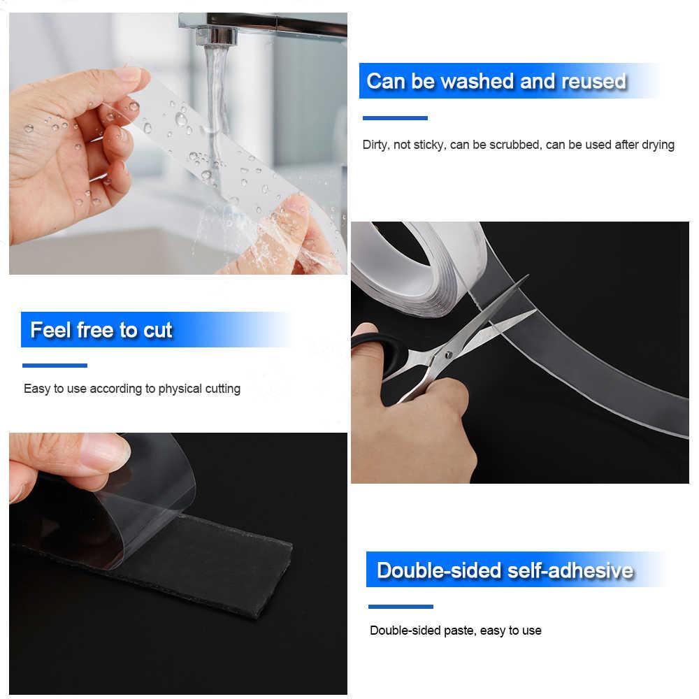 Nano fita mágica melhoria dupla face fita transparente nenhum traço acrílico reutilizável impermeável fita adesiva dropshipping