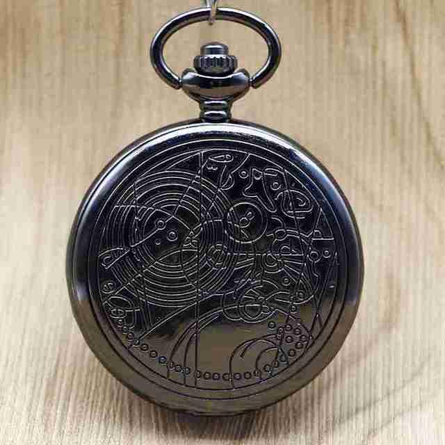 2017 Bronze Bronze/Silver/Black Doctor Who Quartz Pocket Watch Pendant Necklace