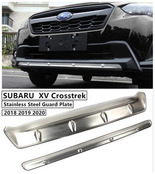 For SUBARU XV Crosstrek 2018 2019 2020 Front & Rear Bumper Guard Plate Protector Anti-impact Stainless Steel Auto Accessories image