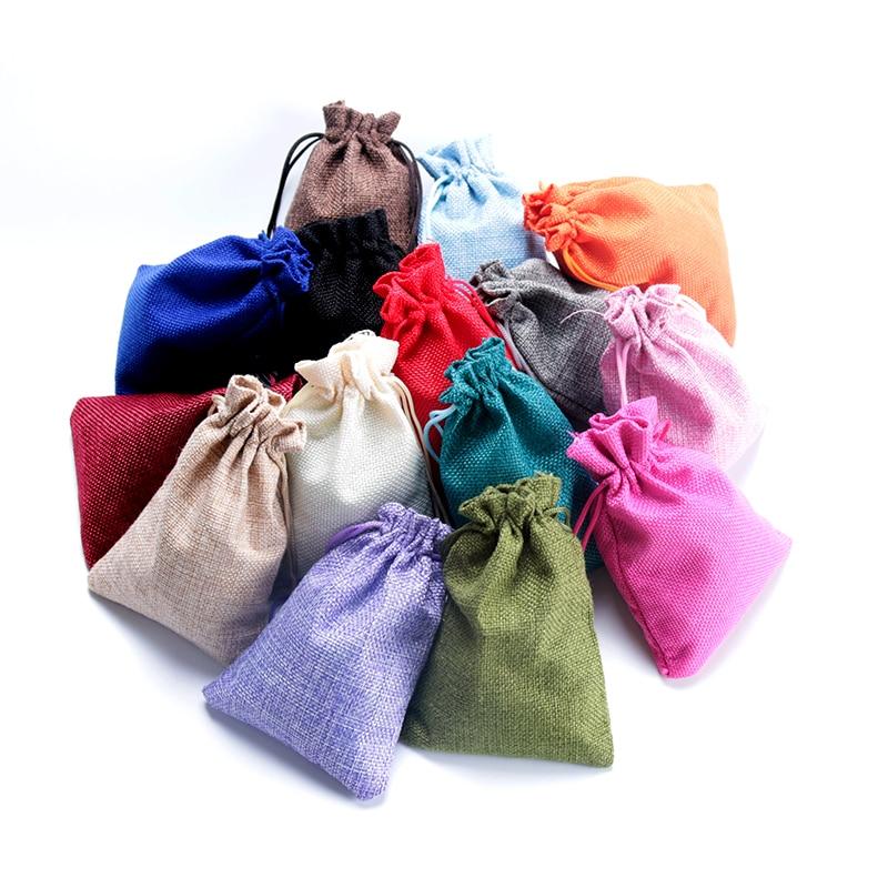 Hot Sale 5pcs 7x9 10x14 13x18cm Small Jute Bag Bracelet Jewelry Packaging Bags Linen Drawstring Gift Bag Pouches Can Custom Logo