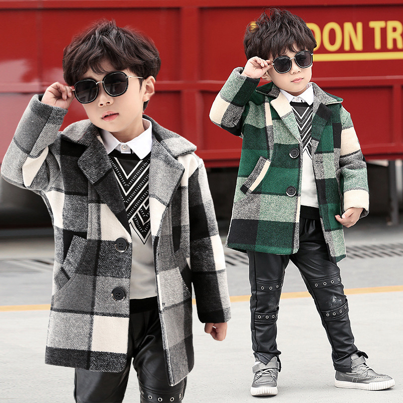 Boys Winter Autumn Hoodless Plaid Pattern Mid-long Single Breasted Fashion Korean Style Thicken Warm Woolen Coat