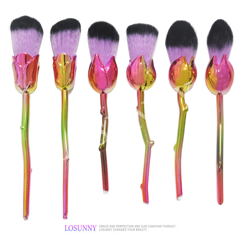 6pcs/Sets The New 6 Rose-type Makeup Brush Set of Screw Handle Beauty Makeup Make-up Make-up Tools Three Styles Optional ol style women s round collar argyle long sleeve faux twinset dress
