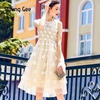 Young Gee Luxury Dress Summer Fashion Designer Elegant 3D Flower Embroidery Appliques Mesh Women Vintage Midi Dresses vestidos