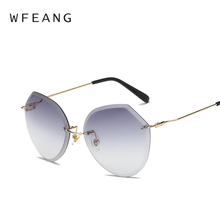 b981c906de71 WFEANG gradual change Transparent Sunglasses Women Oversized Clear Lens  Lady Rimless
