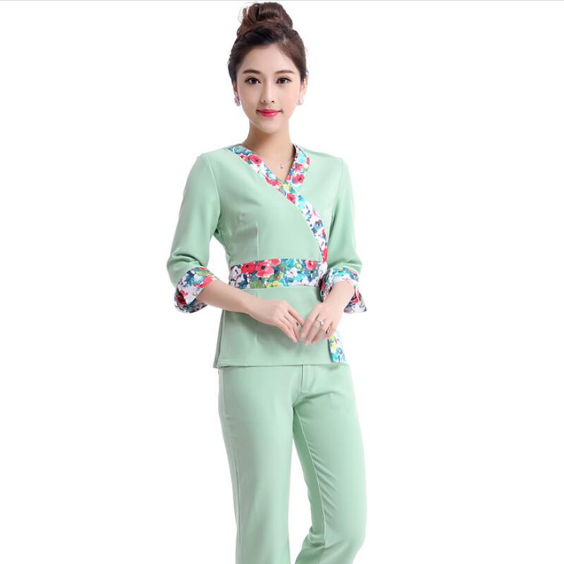 2016 free shipping brand new beauty salon floral medical for Baju uniform spa