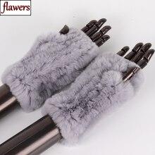 新しい女性 100% リアル本物のニットレックスウサギの毛皮ミトン冬暖かい女性リアルファー指なし手袋ハンドメイドニット毛皮ミトン