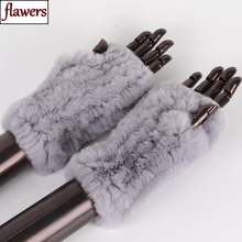 Novas mulheres 100% real genuíno malha rex pele de coelho luvas inverno quente senhora real pele sem dedos luvas de malha artesanal mitten