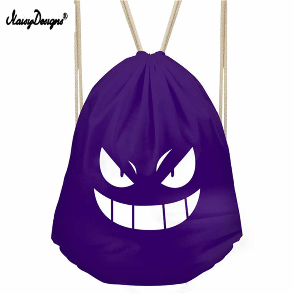 Чёрный мешок с кулиской мешок Забавный пакет для детей мальчиков вместительная сумка для девушек аниме глаза Faye сумки пара влюбленных обувь рюкзак для детей