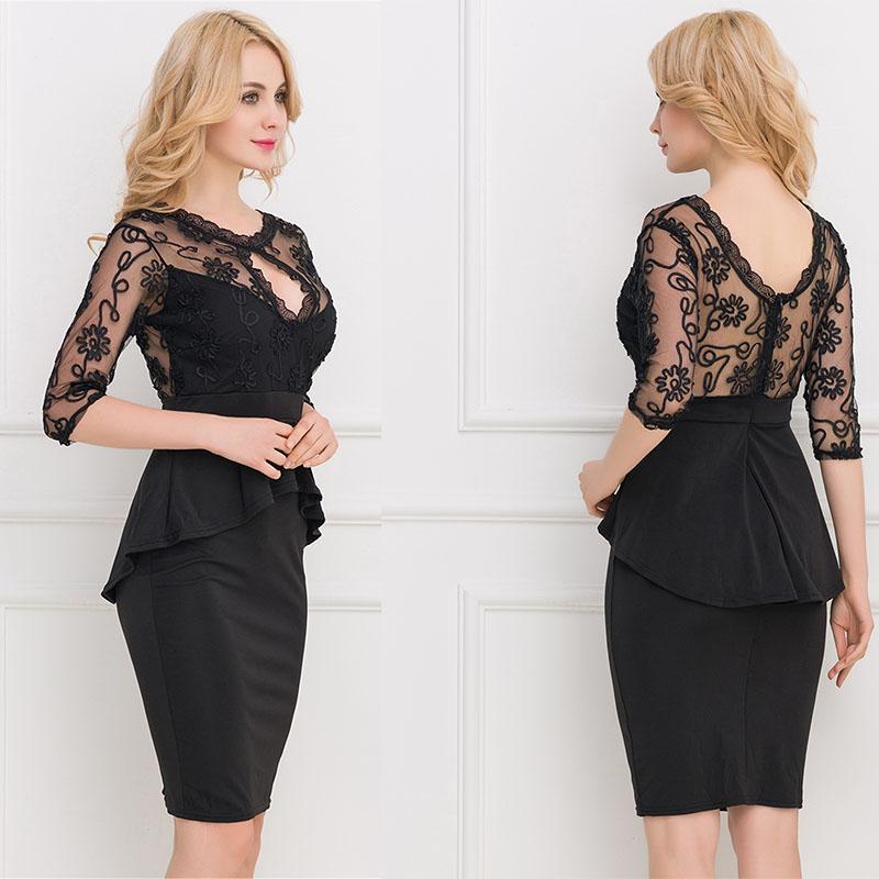 Elegant Black Half Sleeve Part See Through Peplum Dress