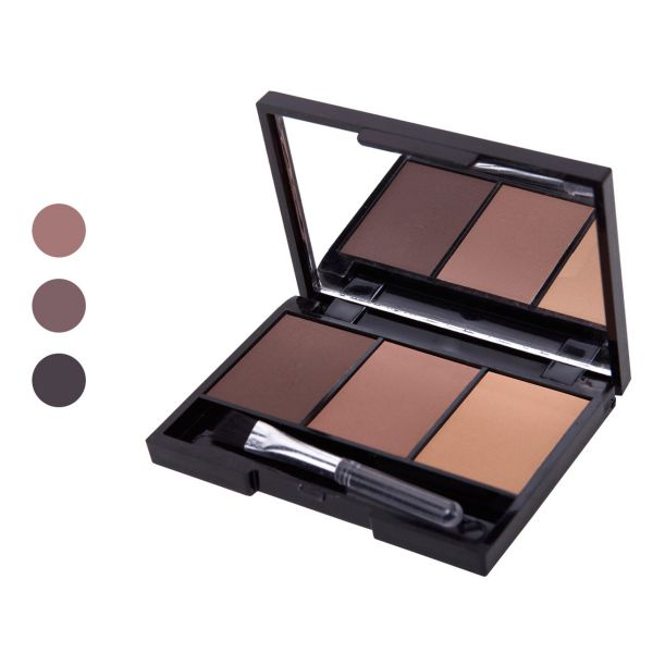 Hot Professional Kit 3 Color Eyebrow Powder Shadow Palette Enhancer with Ended Brushes 1