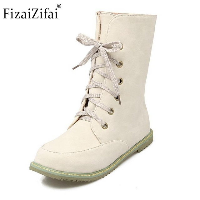 Women's Fashion Round Toe Lace-up Flats Autumn Winter Mid-Calf Boots with Buckle