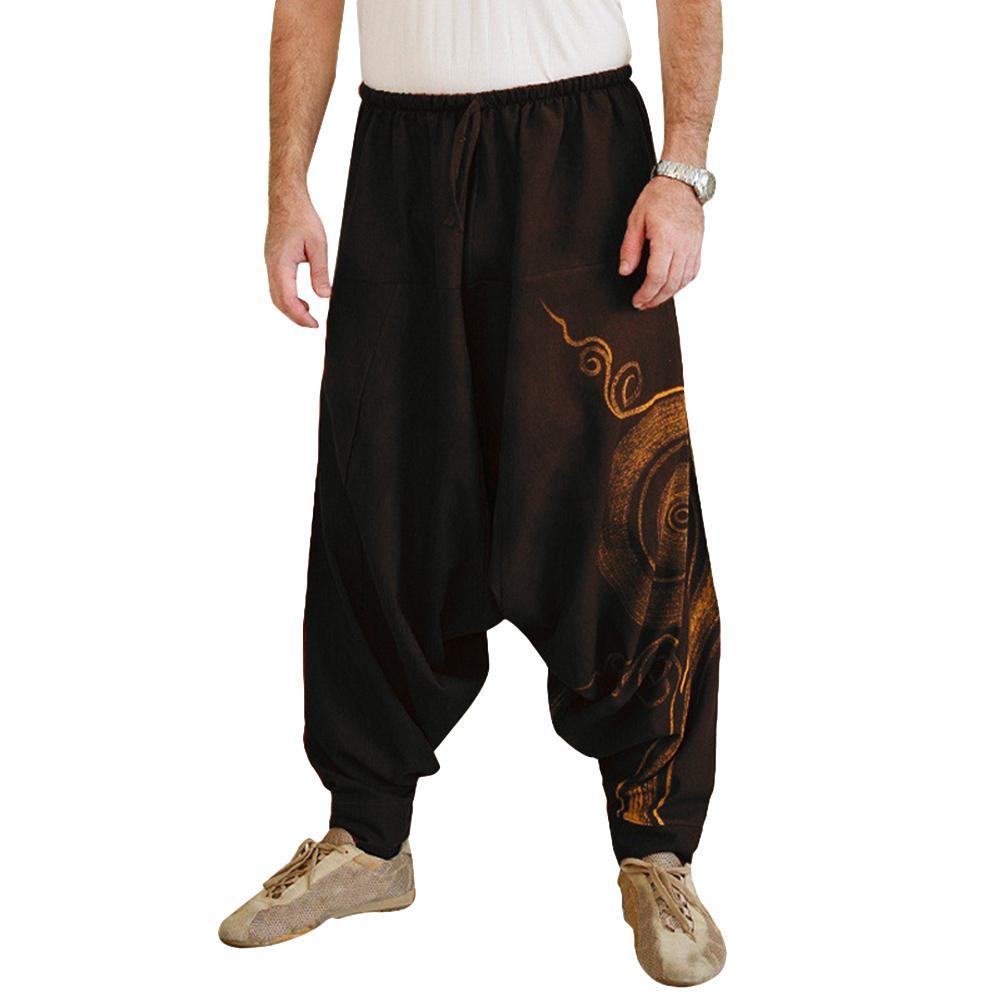 Men Casual Harem Pants Summer Yoga Baggy Aladdin Hippie Spiral Print Trousers Punk