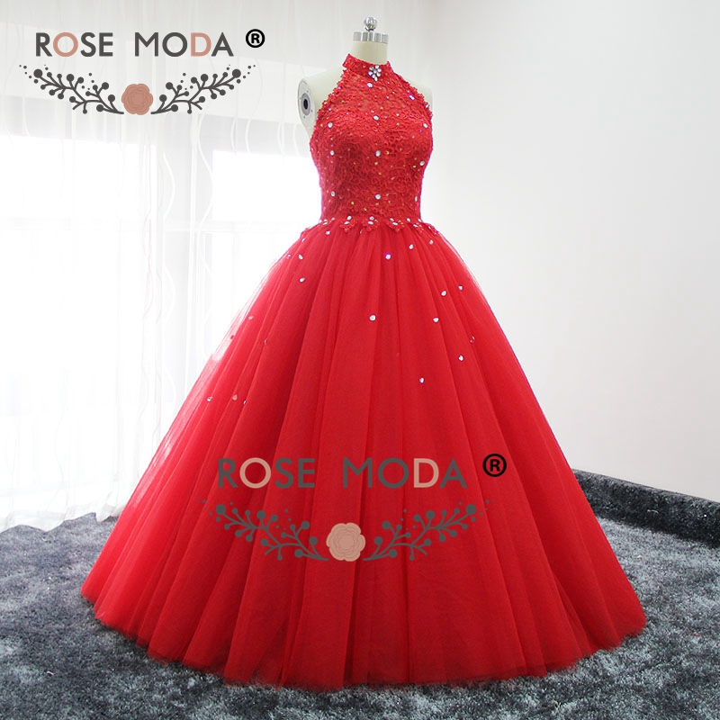 Rose moda red halter puffy prom dress bling kristall formale party dress lace up zurück real bilder - 2