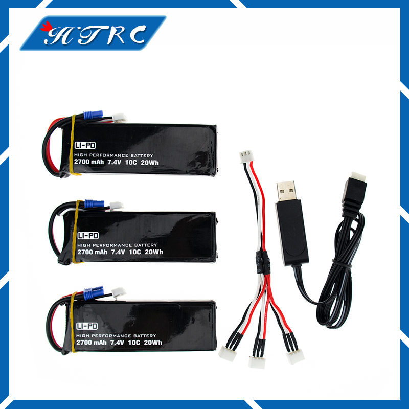 Hubsan H501S 7.4 V 2700 mah lipo battery 10C Batteies 3pcs and USB charger for Hubsan H501C rc Quadcopter Airplane drone Parts lipo battery 7 4v 2700mah 10c 5pcs batteies with cable for charger hubsan h501s h501c x4 rc quadcopter airplane drone spare