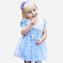 2016 Designer Dresses for Baby Girls Cotton Frock Design Toddler Baby Party Dress Baby Ruffle Flower Clothes Flutter Sleeves
