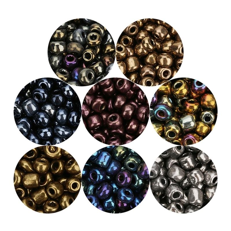 500 pièces/lot. Perles de rocaille en verre tchèque de couleur foncée pour femmes, bracelet, collier, matériel de fabrication de 4mm dia. Perles entretoises pour bijoux