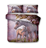 New Drop Shipping 3D Flowers unicorn Duvet Cover with pillow case Cartoon purple Bedding sets queen size Bed Bedding