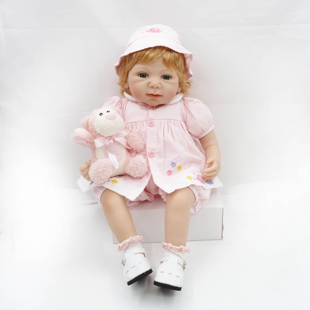 Pursue 20/51 cm Beautiful Pink Dress Princess Girl Doll Reborn Vinyl Silicone Toddler Baby Girl Doll Toys for Girl Bedtime Gift original winx club bloom musa beautiful girl magiche fan doll collection toys