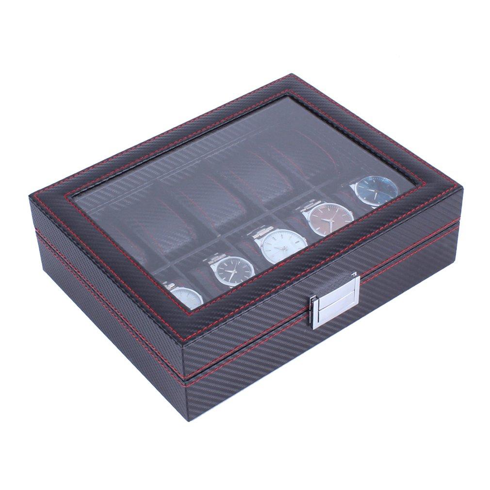Modern Design 10 Grids Wooden Watch Box Carbon Fibre Pattern Watch Storage Box шкатулки trousselier музыкальная шкатулка wooden box жираф