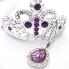 2sets Baby Girl Gift Princess Sofia The First Purple Teardrop Amulet Pendant Chain Necklaces Sofia Tiara Crown Hair Clip Jewelry