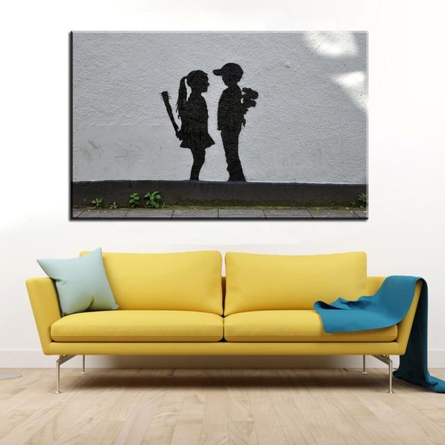xdr112Graffiti Art Canvas Painting Banksy Boy Meets Girl Art Prints ...