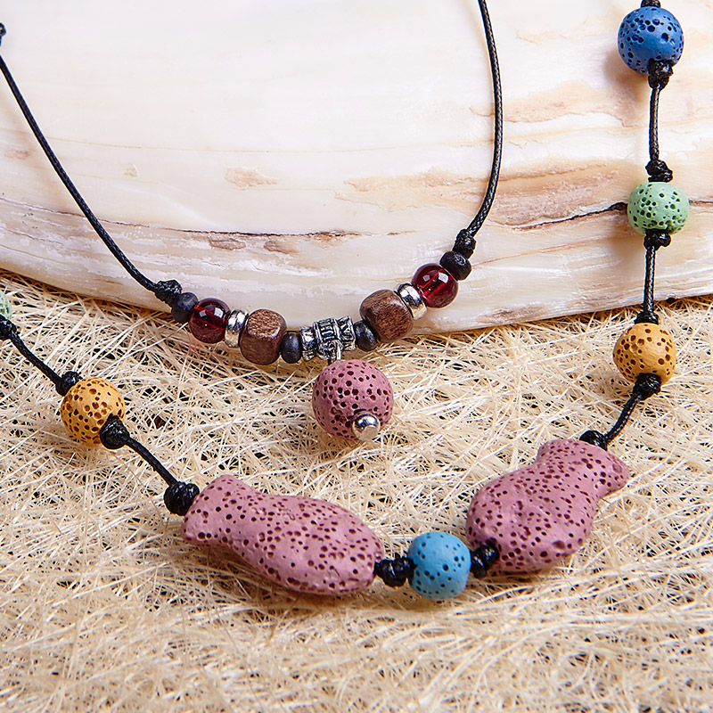 COLORFUL LAVA Volcanic Stone 80cm Women Sweater Chain Necklace 2018 Special Design Boho Trendy Volcanic Stone Statement Necklace