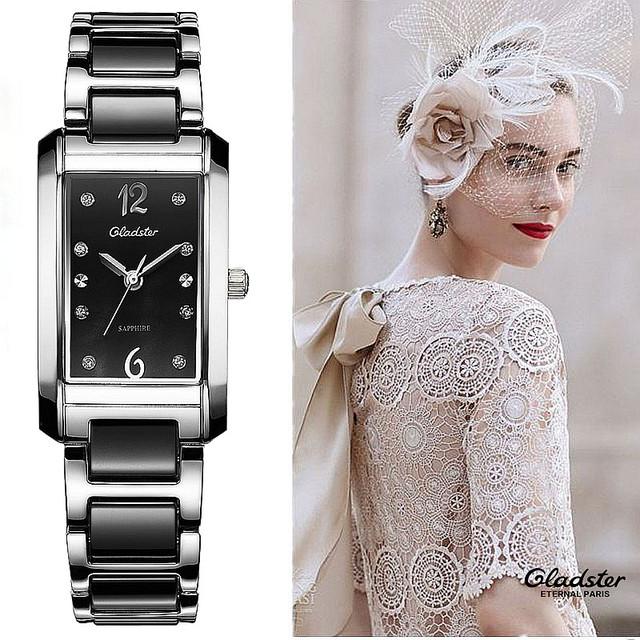 Marca Gladster 2016 Retângulo Senhoras Imitação de Cerâmica Mulheres Relógio de Luxo Pulseira Relógios pulseira de Aço relógio de pulso Para mulheres