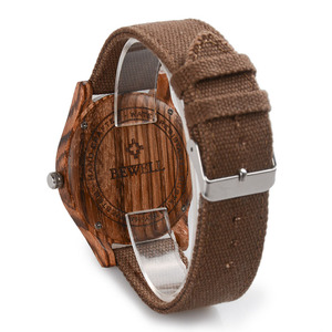 Image 2 - BEWELL Unisex Zebra Bamboo Wood Watch Mens Watches Top Brand Luxury Women Watches Canvas Band Wooden Men Sport Watch 124B