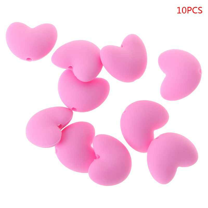 eeb413566a44 Detail Feedback Questions about 10 Pcs Set Food Grade Silicone Beads DIY  Tool Baby Pacifier Teether Necklace Heart Shape Teething Massage Bite Safe  on ...
