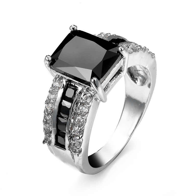 Nouveau mode haute qualité femmes homme bijoux mode 925 en argent sterling noir pierre et C Zircon anneau de doigt cadeau de noël
