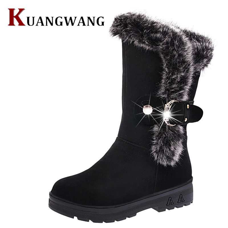 Winter Women Boots Female Fashion Fox Fur Warm Autumn Winter Wedges Snow Women Boots Lady Short Boots Casual Long Snow Shoes