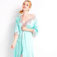 Женские пикантные шелковый халат женский одежда для сна с длинными рукавами Twinset халаты Lounge
