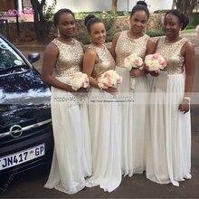 New Arrival Sequined Bridesmaid Dress Chiffon Scoop Beach Bridesmaid Dress Wedding Gowns vestido de dama de honor (SL-B46)
