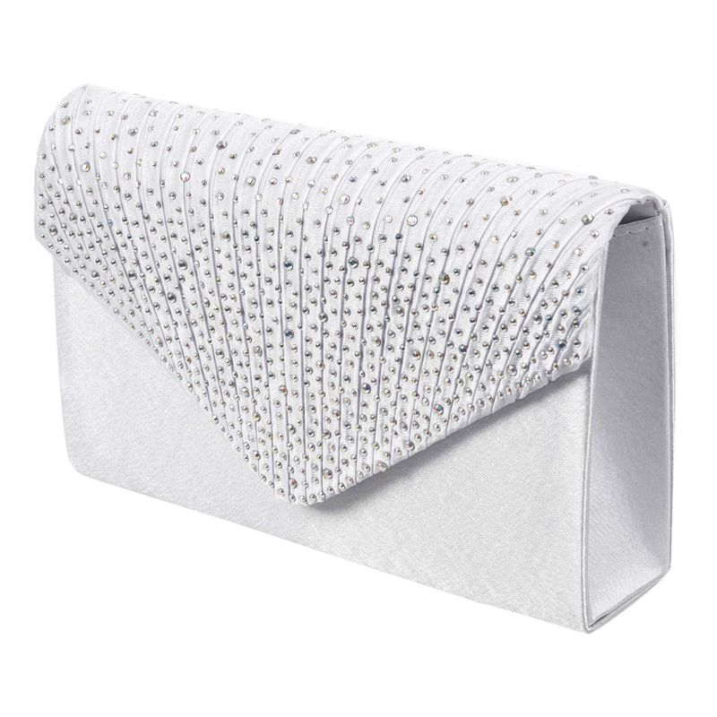 Womens Silk Face Diamond Clutches Shoulder Bag Evening Bridal Prom Satchel Chain Handbag(white)