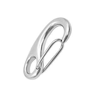 Image 2 - 2 بوصة خطاف زنبركي الفضة المقاوم للصدأ مشبك حديدي المفاتيح المحمولة هوك دائم متعددة الوظائف معدات بحرية 50x18 ملليمتر