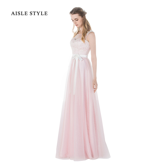 Aisle Style 2017 Real Pink Bridesmaid Dresses Lace Top Vintage Style ...